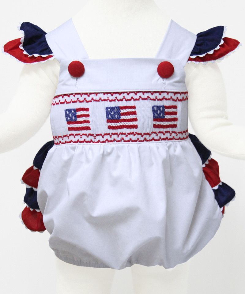 0ebd1efae6c7 Baby Girls Patriotic Bubble Romper with USA Flags 4th of July ...