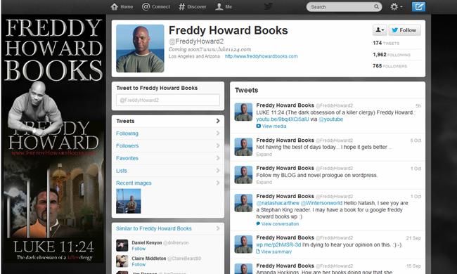 Branded Twitter profile for Freddy Howard Books.