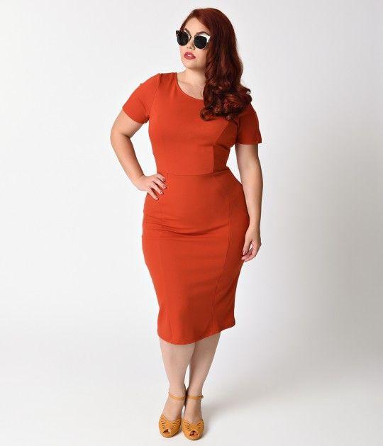 Dangerous Curves Ahead Darlings Our Plus Size 1960s Burnt Orange