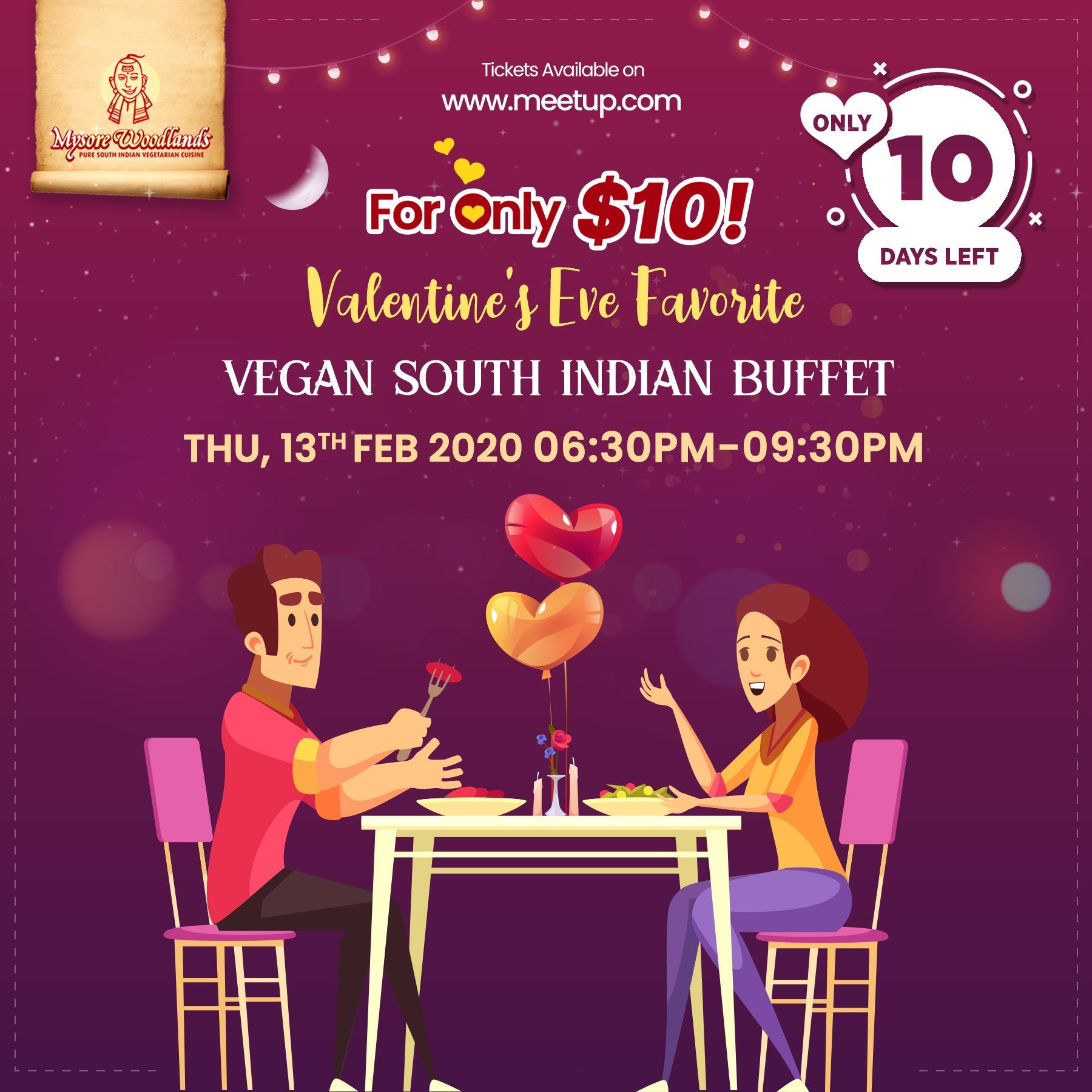 Valentine's Eve Favorite VEGAN South Indian Buffet
