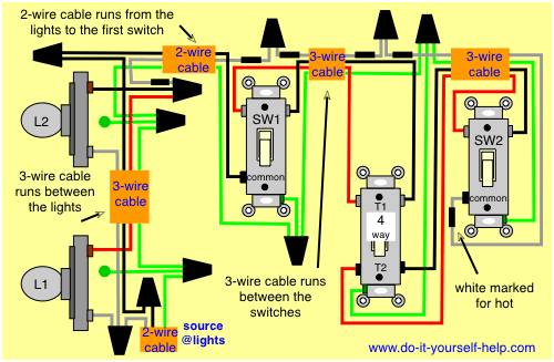 wiring diagram 4 way switch multiple lights electrical pinterest rh pinterest com wiring multiple switches to one light wiring multiple switches from one circuit