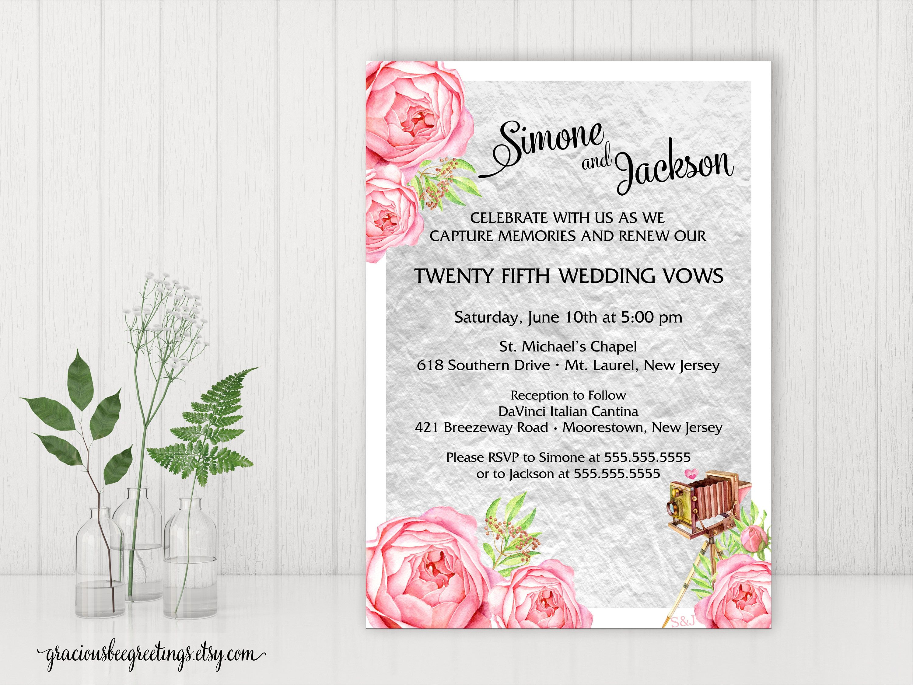 Vow Renewal Invitation, Silver Anniversary Party, 25th Wedding ...
