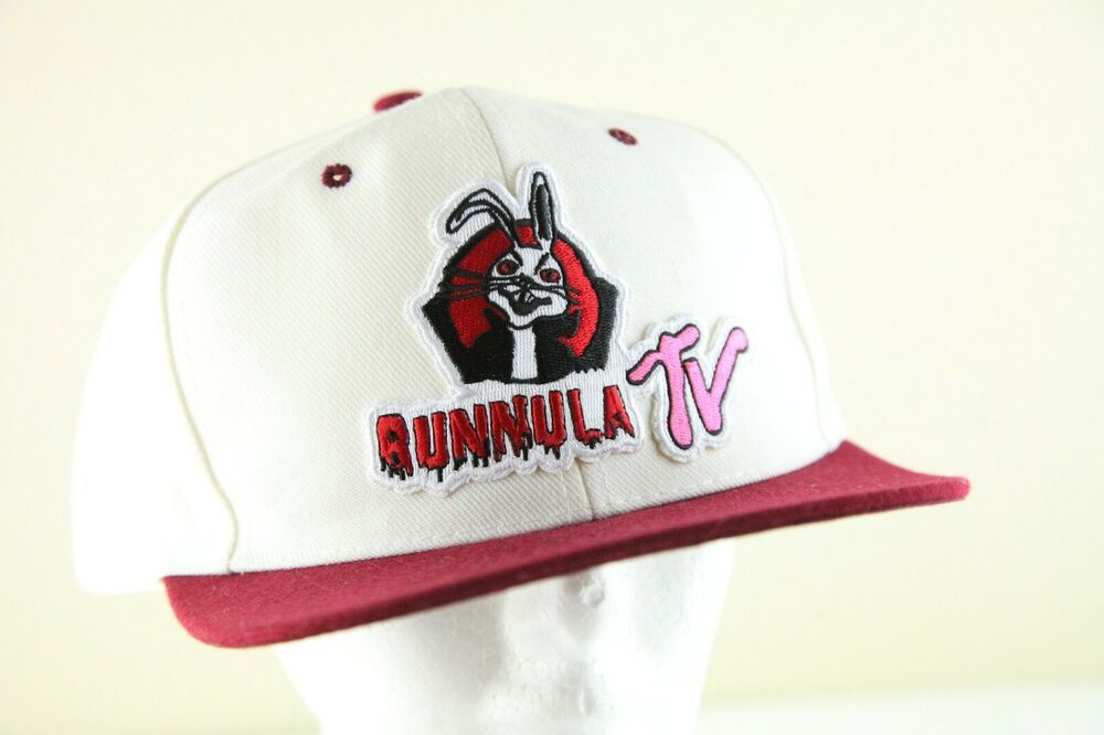 Vintage 80s Deadstock Snapback Cap White/Maroon With Bunnula TV Patch #Nissin #Snapback