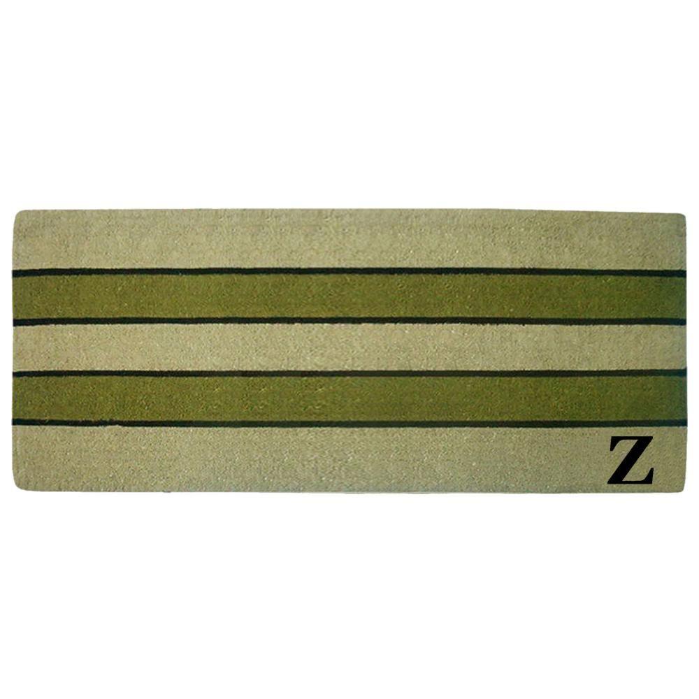 Pistachio 24 in. x 57 in. Heavy Duty Coir Monogrammed Z Door Mat, Green/Brush