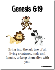 Memory Verse Helps-Genesis 6:19 | Noah's Ark Baby Shower | Preschool