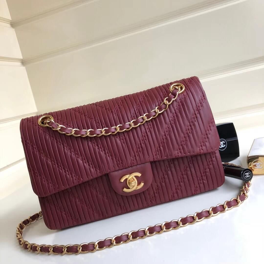 cb2aa1372c12 Chanel Pleated Crumpled Calfskin Classic Flap Medium Bag Burgundy 2018
