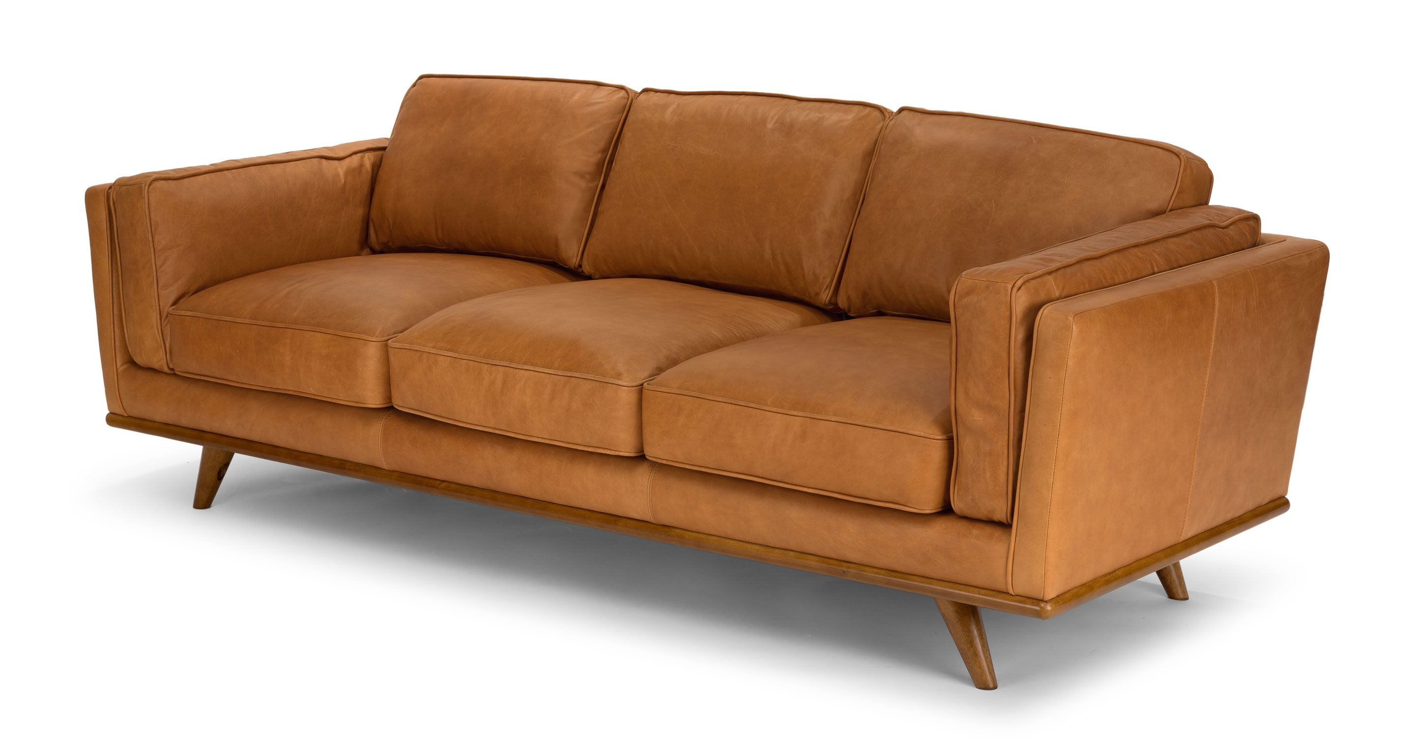 Natuzzi Couchtisch Tan Leather Sofa In Honey Oak Wood 3 Seat Article Timber Modern
