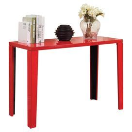 Showcasing A High Gloss Red Finish And Sleek Design This Contemporary Console Table Adds A Pop Of Color To Your Entryway Or Living Room Consolas Hogar Mesas
