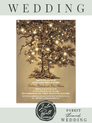 vintage old oak tree rustic engagement party invitation  vintage old oak tree rustic engagement party invitation