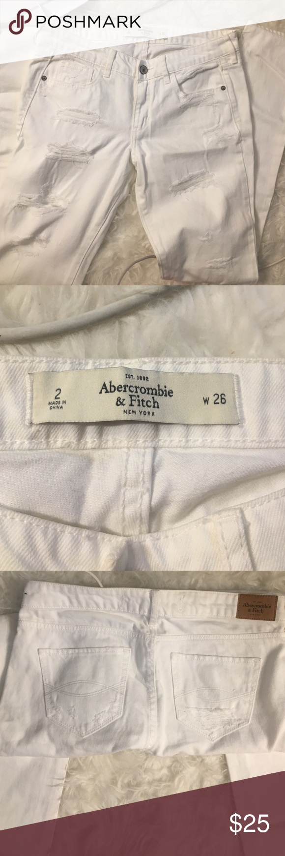 Abercrombie distressed white jeans Skinny leg. Not much stretch Never worn Abercrombie & Fitch Jeans Skinny
