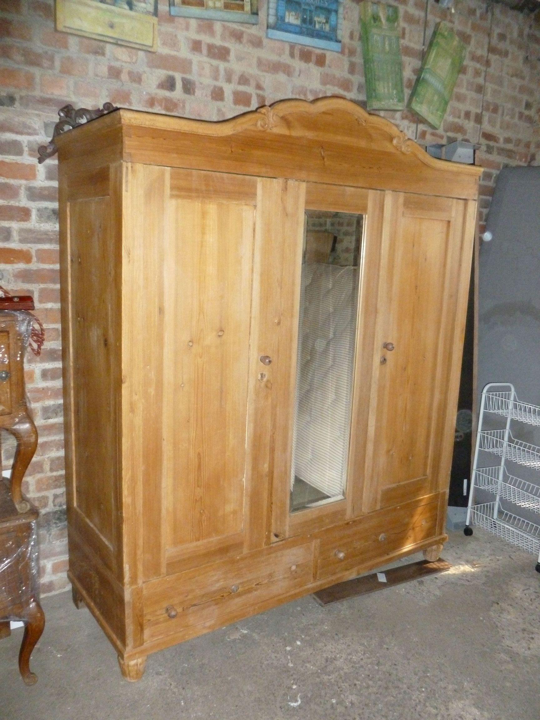 Early 1900's probably continental pine 3 door wardrobe