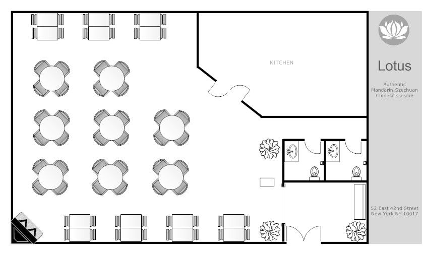 Lotus Restaurant Floor Plan Example Smartdraw Restaurant Floor Plan Restaurant Flooring Restaurant Layout