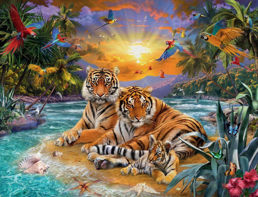 Tiger Family At Sunset Ravensburger Puzzle Of 2000 Pieces Tiergemalde Ausgestopftes Tier Tiger Zeichnung