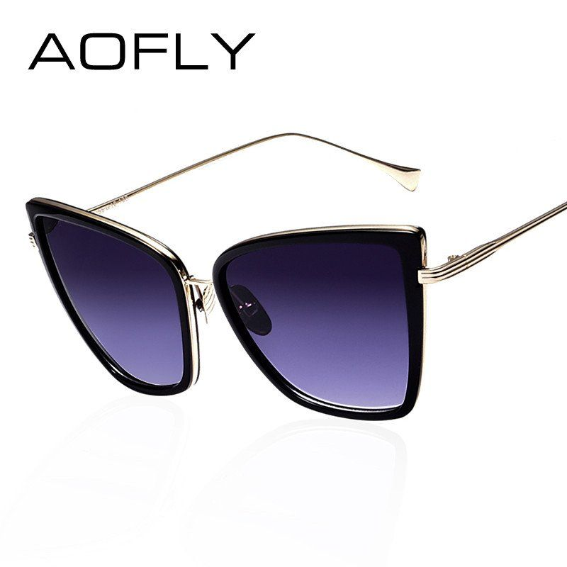 cb3840ed083 AOFLY New Fashion Women Sunglasses Cat Mirror Glasses Metal Cat Eye  Sunglasses Women Brand Designer High Quality Square Style