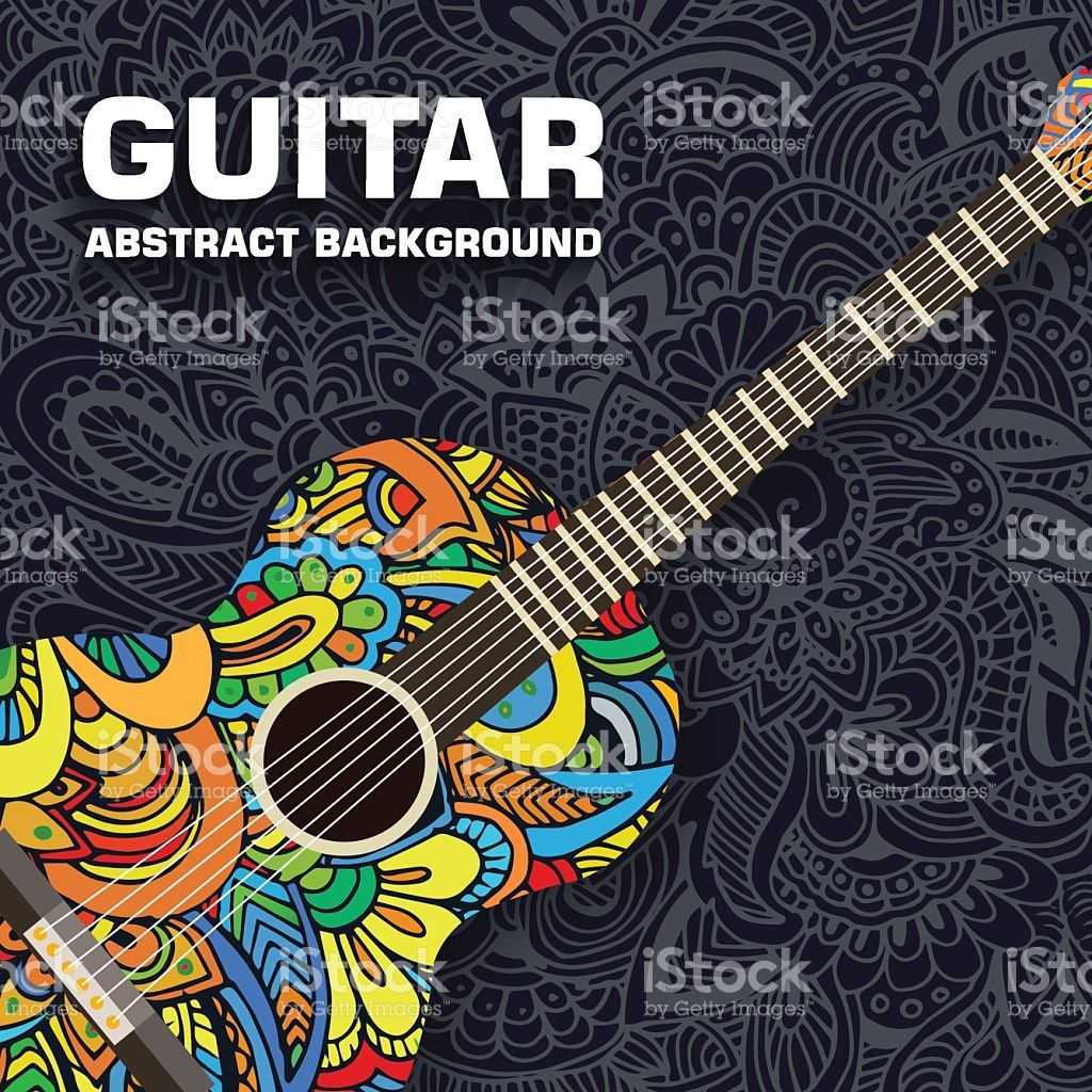 Abstract Retro Music Guitar On The Background Of The Ornament Guitar Patterns Hand Art Drawing Retro Music