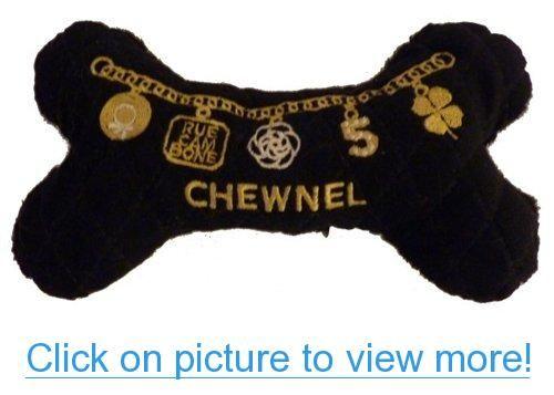 Chewnel Chanel Designer Inspired Plush Squeak Squeaker Dog Bone