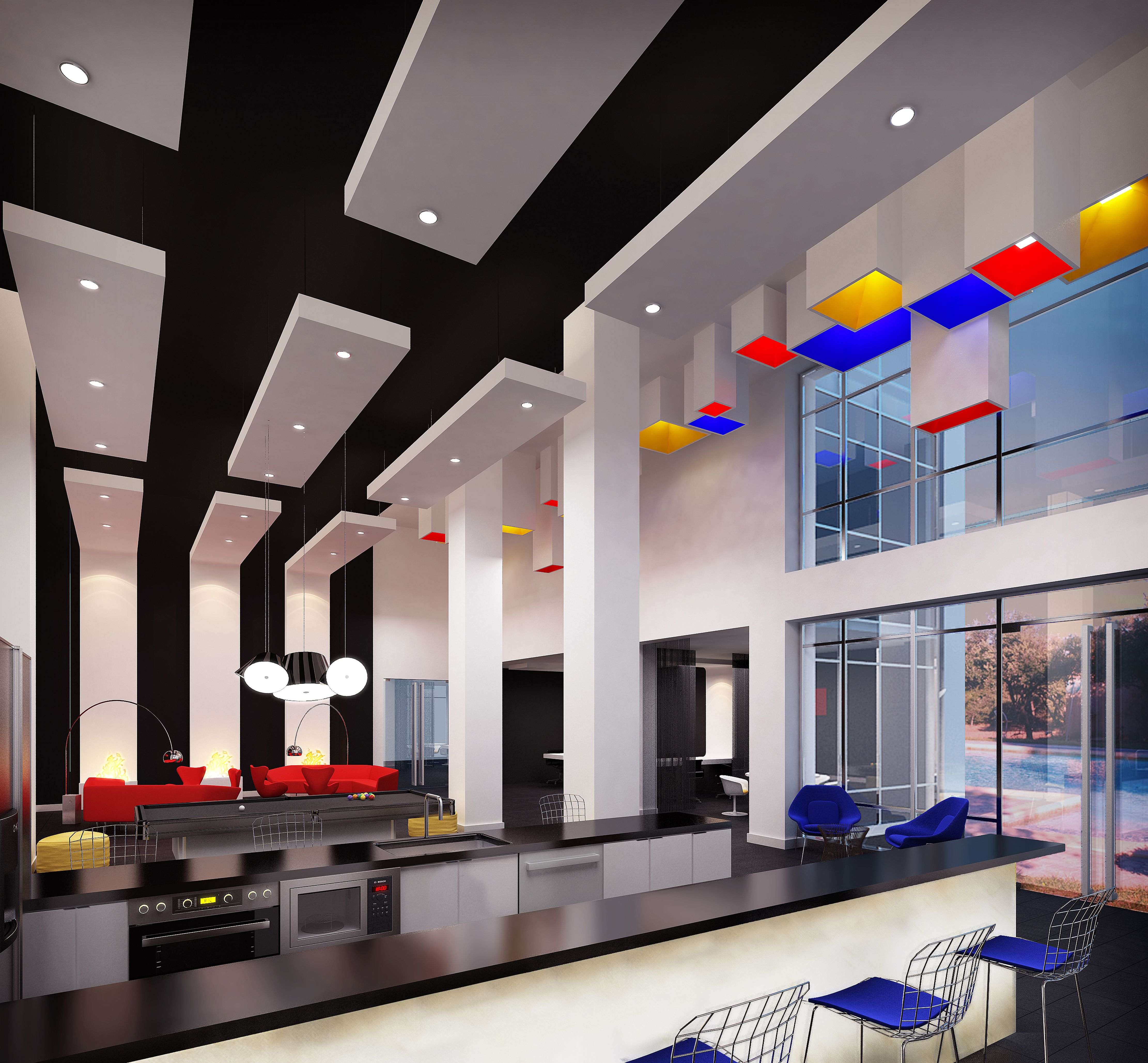 Arts Clubhouse Interior | De Stijl movement | B2 Architecture