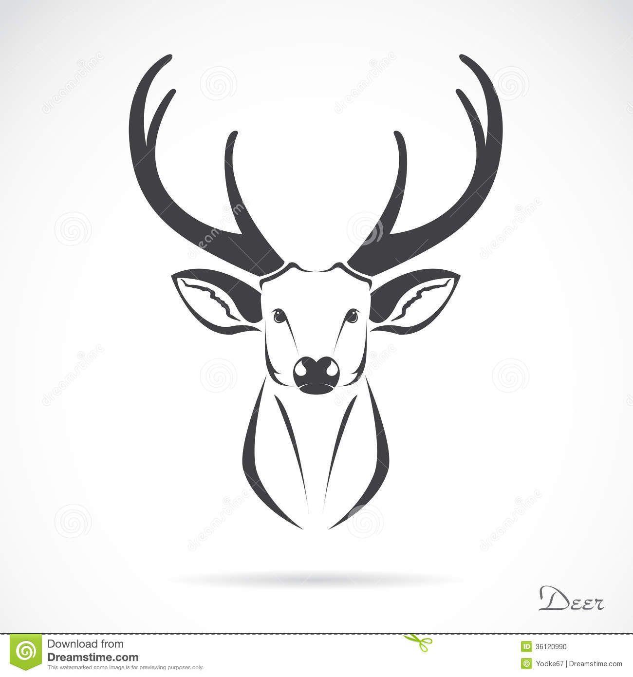Deer Head Outline Tattoo Vector Image Of An