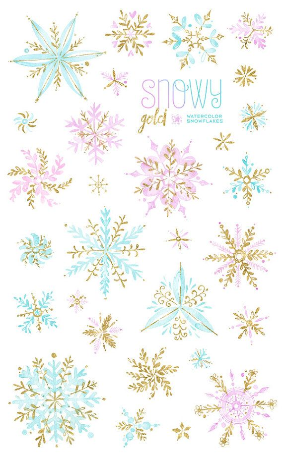 Snowy Gold. Watercolor winter clipart, snowflakes, christmas ...