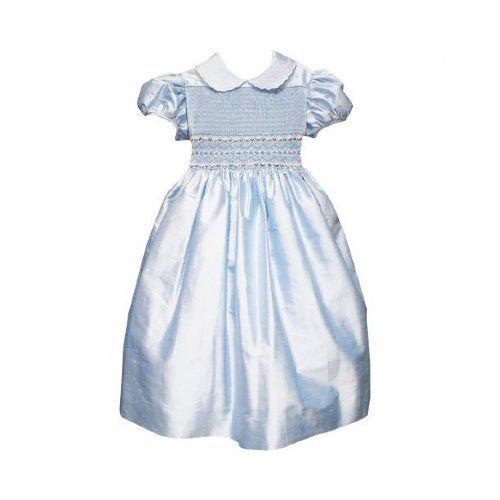 French Blue Silk Smocked Dress