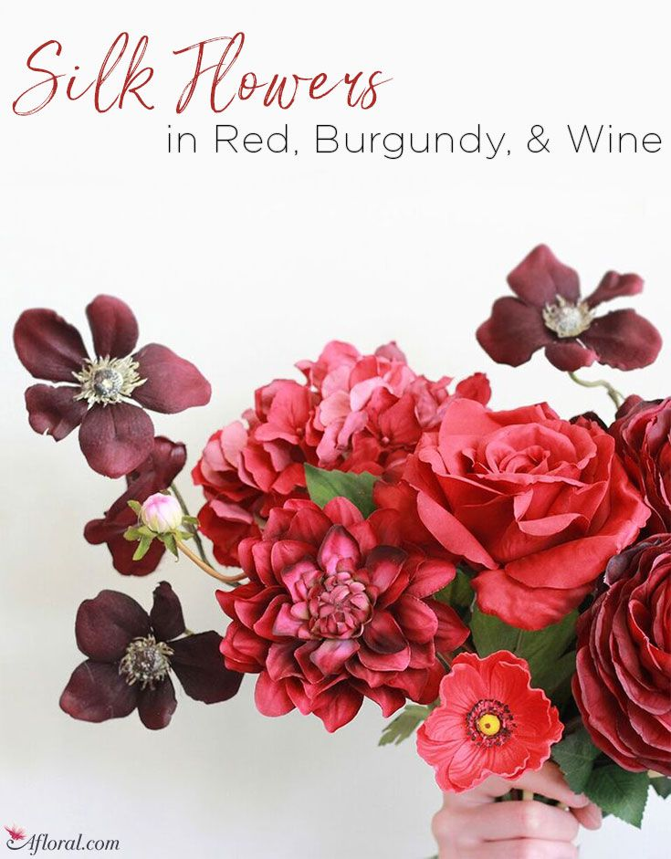 Silk Flowers In Red Burgundy And Wine Tones Red Wedding Flowers