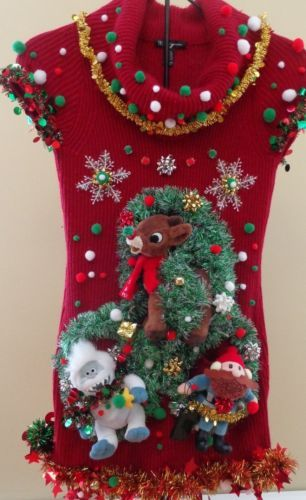 b8265a716d0 Ugly Christmas Sweater Dress Womens Small Stretchy Prize Winner Misfit Toys