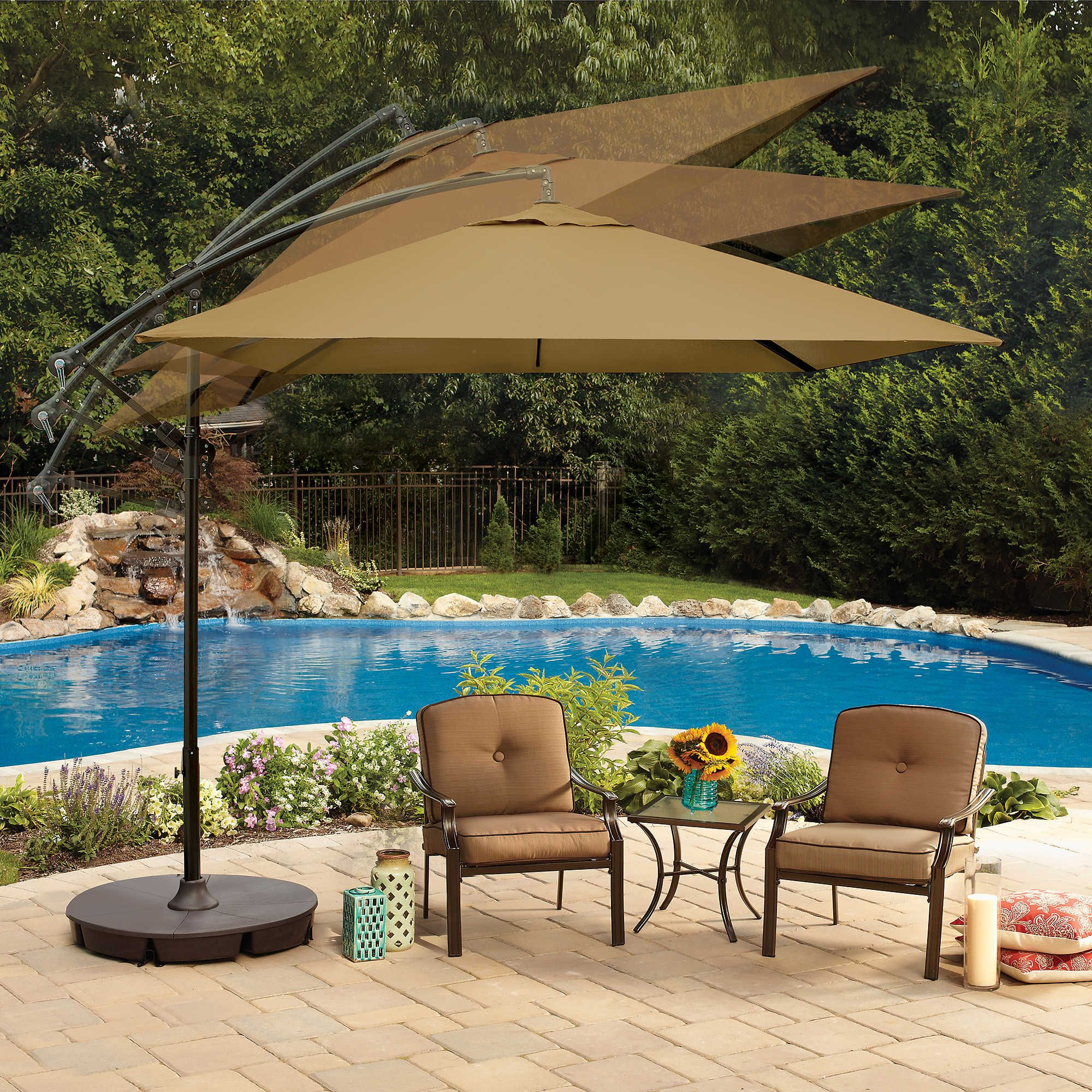 Marvelous 8 Foot Square Cantilever Umbrella In Fern