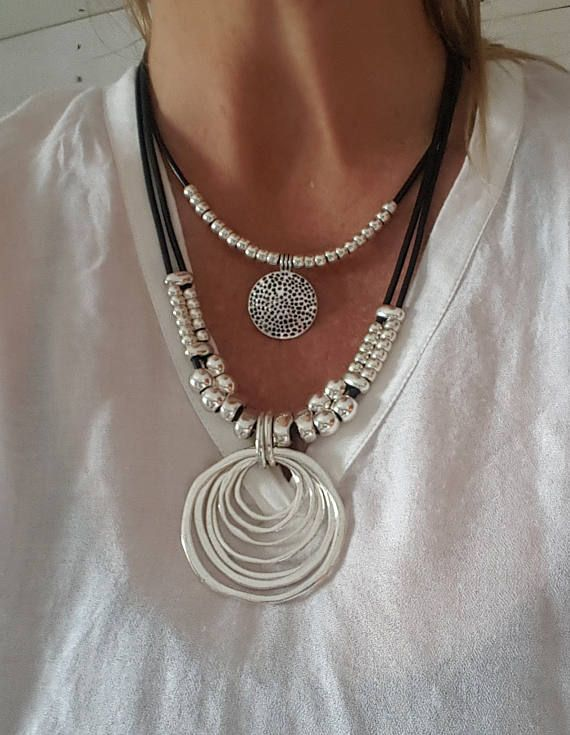 ebf77f345c7e double, beaded, woman leather necklace, coin necklace, endless Ring ...