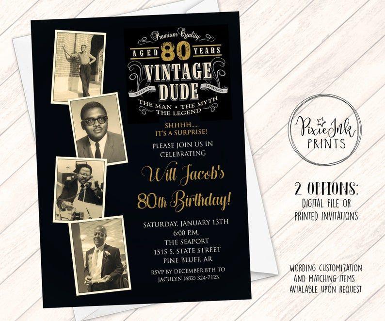 Vintage Dude Photo Birthday Invitation Through the Ages