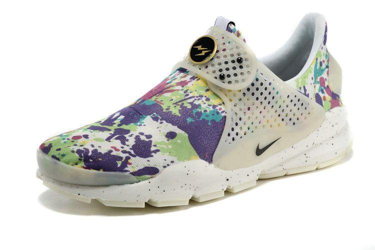 more photos dea89 a4c3f Girl WMNS Nike Sock Dart lightning Print MultiColor White Pure Platinum
