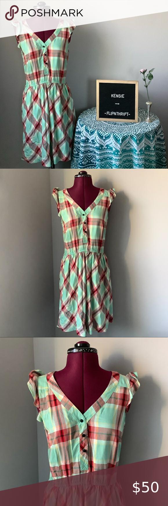 Kensie Mint Green Plaid Dress Green Plaid Dress Plaid Dress Kensie Dress [ 1740 x 580 Pixel ]