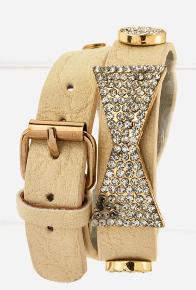 """Color:+Beige+Strap+with+Gold+Tone+Metal+Bow+with+crystals.  Width-+0.65"""""""