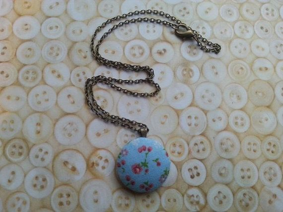 handmade blue floral button necklace on a 18 by maxollieandme, £7.00