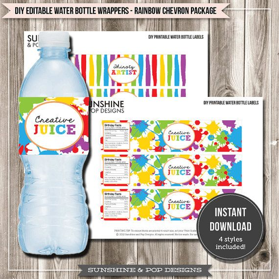 Art Birthday Party Rainbow Painting Art Party Printable Water Bottle Labels