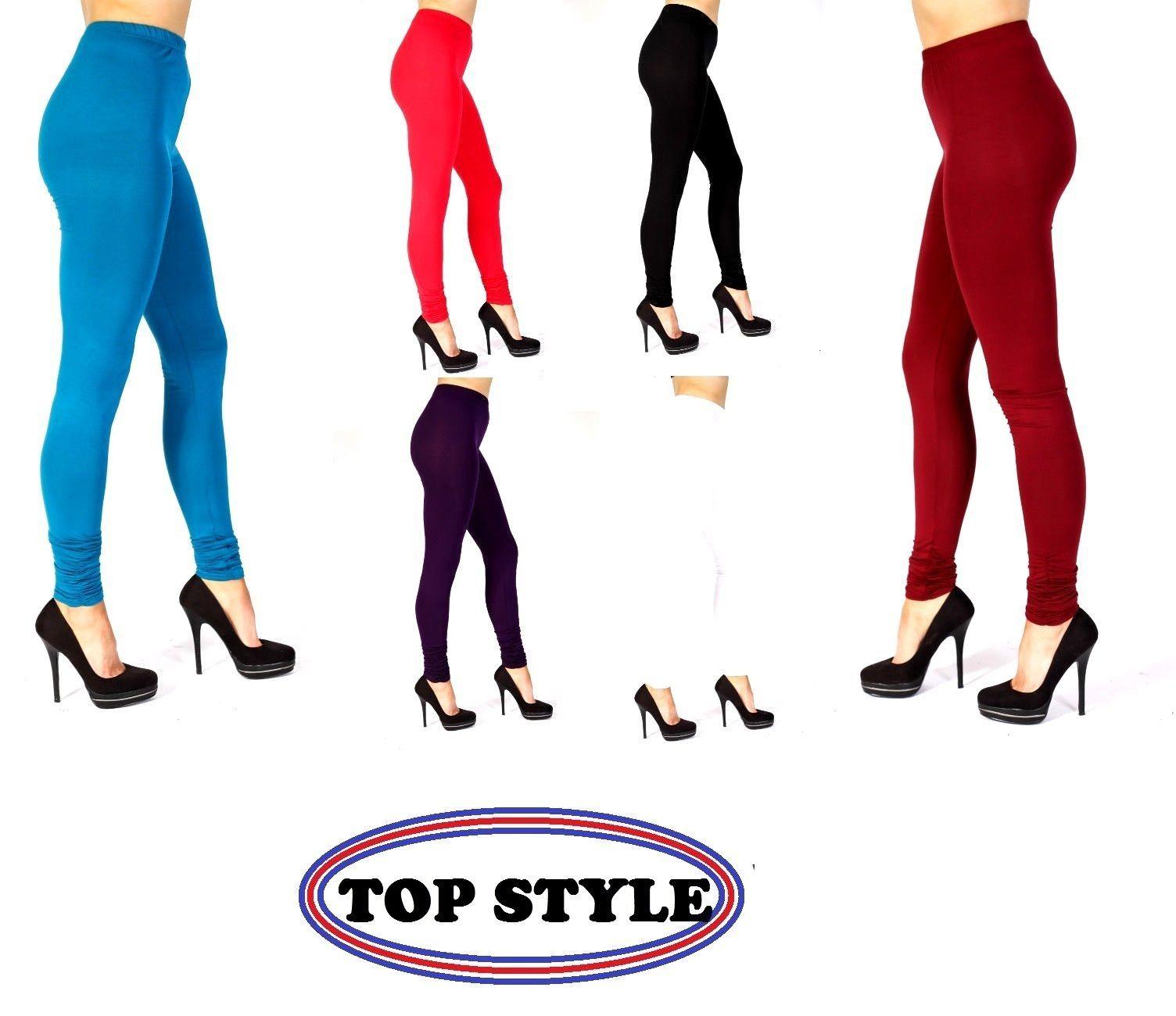 190227fc032e3 Womens Ladies Plain Stretchy Viscose Full Length Leggings Plus Size 8-26  Cntl
