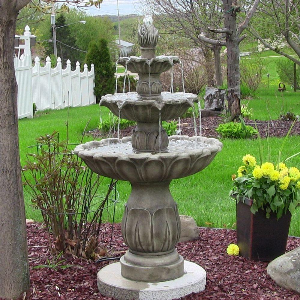 3 Tier Classic Tulip Outdoor Water Fountain Grey Stone Finish Outdoorclassics Garden Water Fountains Water Fountains Outdoor Garden Fountains Outdoor