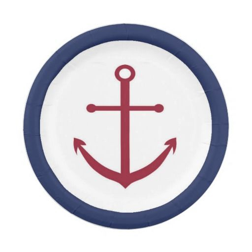 Nautical Baby Shower Red Anchor Paper Plate 7 Inch Paper Plate  sc 1 st  Pinterest & Nautical Baby Shower Red Anchor Paper Plate 7 Inch Paper Plate ...