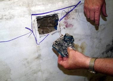 Figure 2  Mold found inside a wall by finding moisture indications