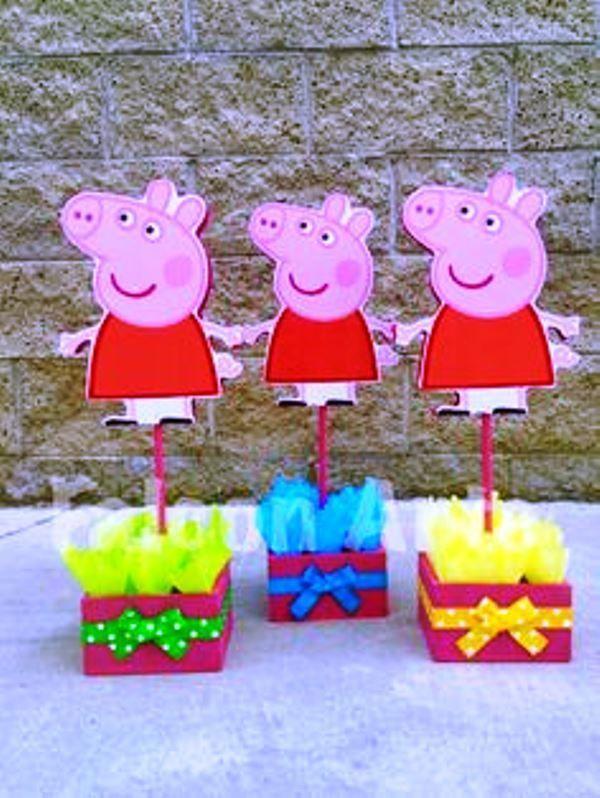 Ideas Para Una Fiesta Temática Peppa Pig De Cumpleaños Fiesta Tematica Peppa Pig Fiesta De Cumpleaños De Peppa Pig Centro De Mesa Peppa