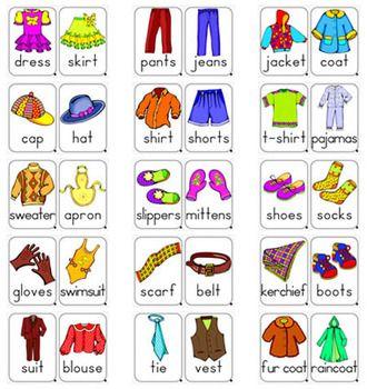 Resultado de imagen de clothes vocabulary flashcards