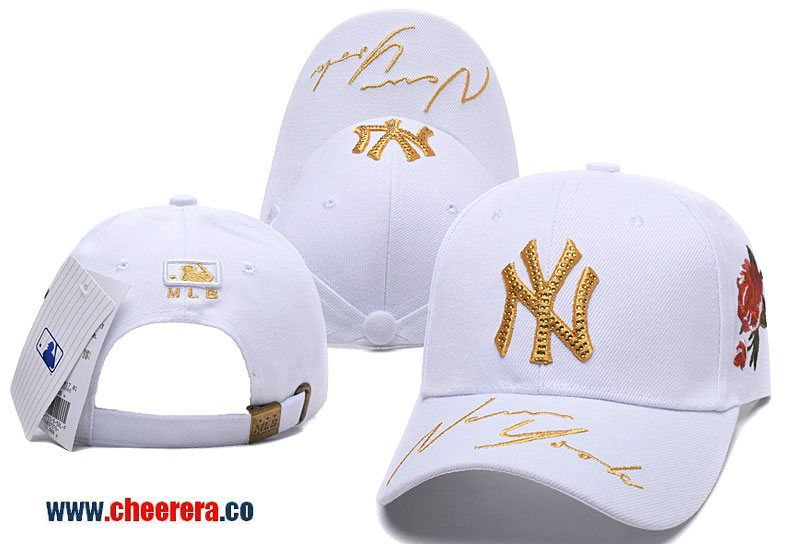 e9a4d8ab8a1 2018 New MLB New York Yankees Adjustable Snapback Hat in White Gold ...