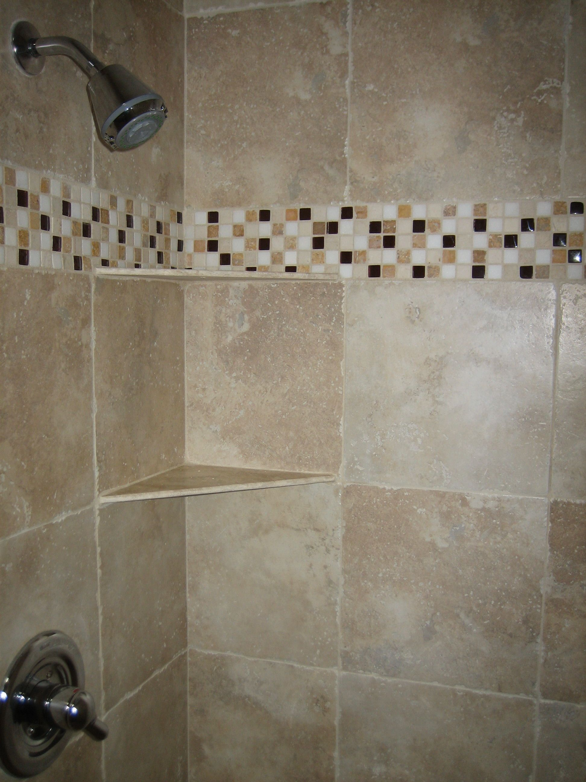 Glass Tile Shower Band Tub Surround Tile Showers And Tubs