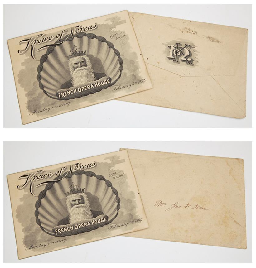 Mardi Gras Ball Invitation and Original Envelope, February 3,1896, Krewe of Nereus. (2 Pcs.)
