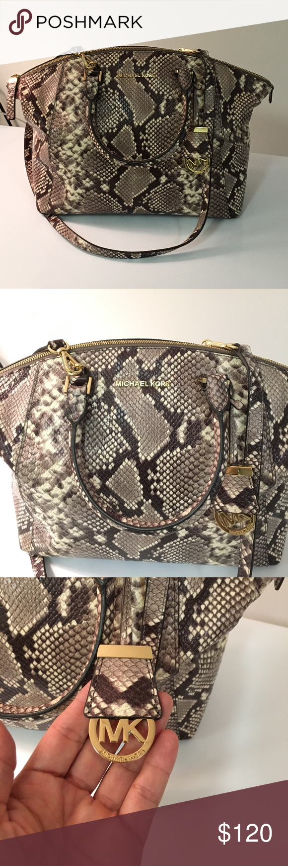 64678fc8b23e Michael Kors Riley Python Satchel This Michael Kors Riley Python Satchel is  a classic beauty. Color tones are browns and cream with gold hardware.