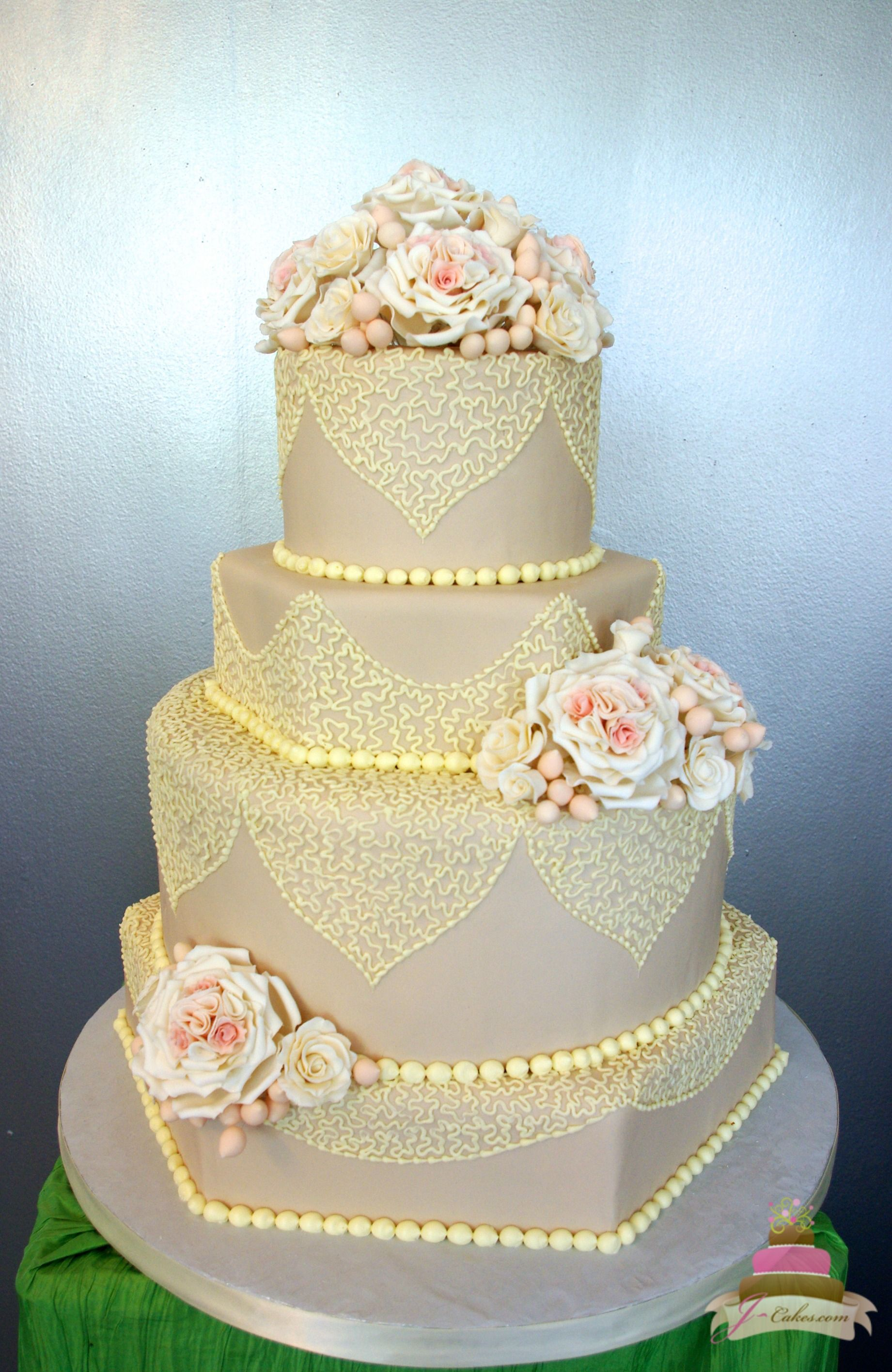 1150) Taupe Fondant and Lace Wedding Cake | steph james wedding ...