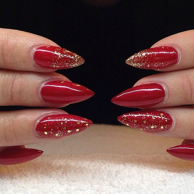 Red Glitter Stilettonails Amoursfilar With Images Red Nails
