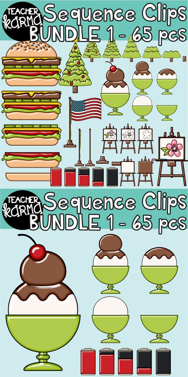 Sequence Clipart With Hamburgers Ice Cream Trees Painting Flag Poles And Battery