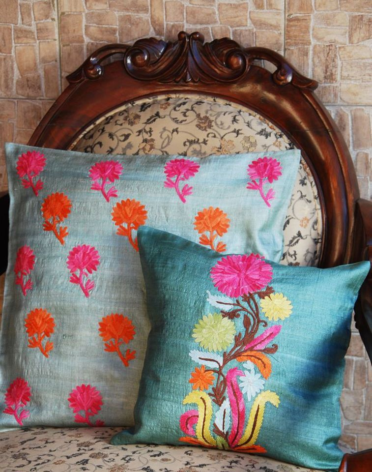 Raw silk pillow covers in jewel tones, traditional Indian prints. Decor Pinterest Indian ...