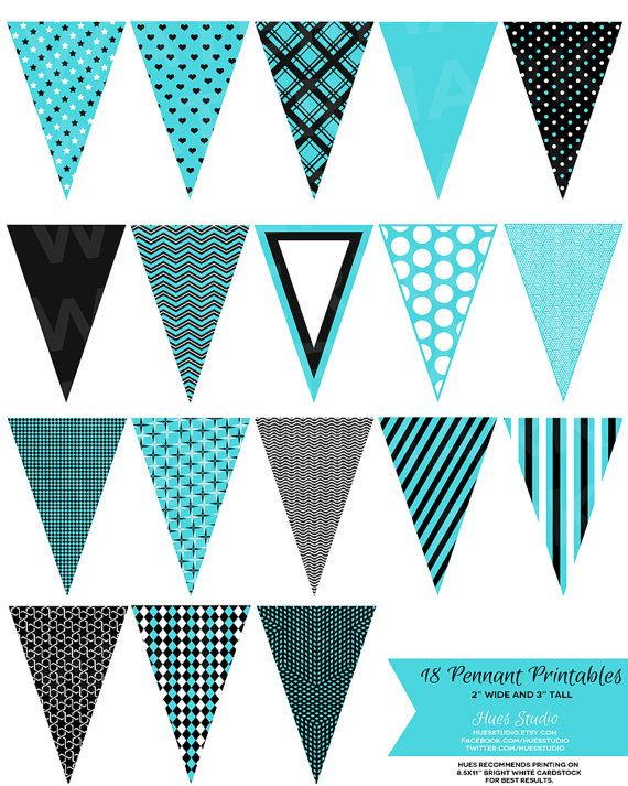 18 Turquoise Black and White Pennant Banner Printables! $350 - pennant banner template