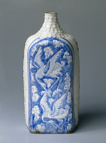 Flat Flask Iran, Late 17th century Faience; painted in cobalt. H. 28 cm Source of Entry: purchased from A.I. Schuster. 1957 The State Hermitage Museum